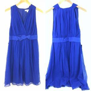 Ann Taylor Chiffon Blue Silk Sleeveless Dress